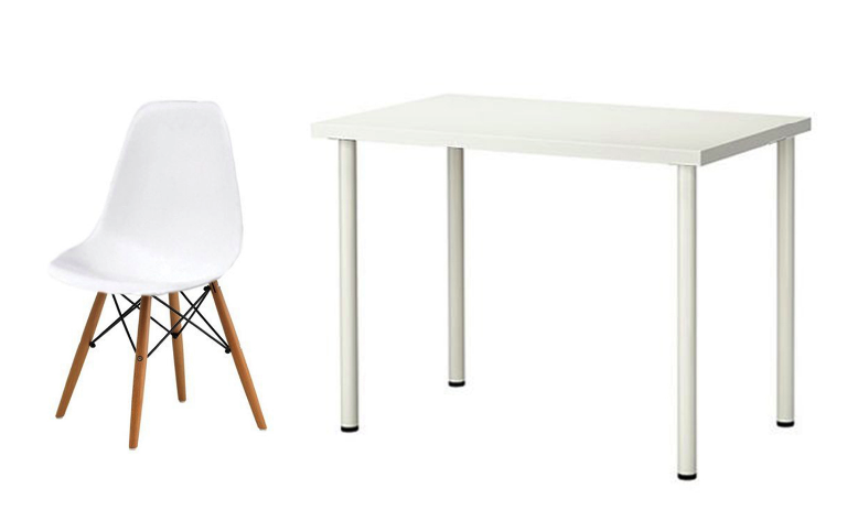 Linnmon Adils Table and a White Barnes Doily Chair from Furniture Source